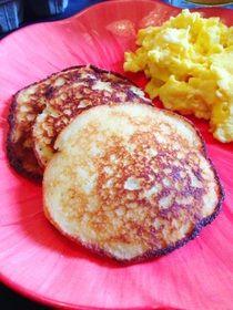 paleo pancakes w/ coconut oil, eggs, raw honey, vanilla extract, almond milk, almond flour, coconut flour & arrowroot starch