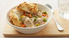 Upside down chicken pot pie. No, you don't have to turn your slow cooker upside down to enjoy this savory pot pie. Pop biscuits in the oven about 30 minutes before it's done, then serve the chicken mixture over the biscuits. Bottoms up! Slow Cooker Recipes, Crockpot Recipes, Chicken Recipes, Cooking Recipes, Bisquick Recipes, Turkey Recipes, Dip Recipes, Appetizer Recipes, Appetizers