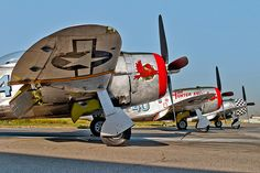 3 Republic P-47D Thunderbolts on the ground at Rialto airport. | Flickr - Photo Sharing!