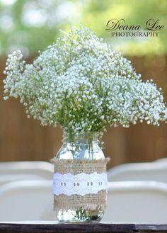 Shabby Chic Country Wedding Mason Jar Centerpiece Quart Size on Etsy, $9.00