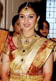 Latest Indian Gold and Diamond Jewellery Designs: Actress Sridevi in Traditional Wedding jewellery and beautiful pattu saree