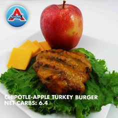 Atkins welcomes you to try our delicious Chipotle-Apple Turkey Burgers recipe for a low carb lifestyle. Get started by browsing our full list of ingredients here. Turkey Burger Recipes, Pork Recipes, Diet Recipes, Healthy Recipes, Turkey Burgers, Lower Carb Meals, Low Carb Diet Plan, Atkins Recipes, Low Carb Recipes