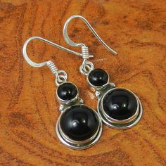 925 SOLID STERLING SILVER BLACK ONYX 4.08g EARRING JEWELLERY SJER0039 #Handmade #Earring
