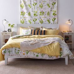 Mustard Yellow Duvet & Flowered Duvet Together for Cold Nights (Add Cactus Sheets)
