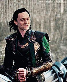 Loki + smiling in Thor: The Dark World. Gif-set (by tomhiddleston-gifs.tumblr): http://maryxglz.tumblr.com/post/151975094592/tomhiddleston-gifs-loki-smiling-in-thor-the