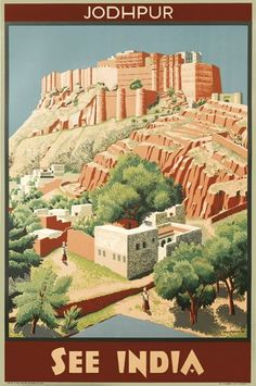 Retro Graphic Design M. EYRE PROUDMAN (1906 - ?) SEE INDIA / JODHPUR. 1934