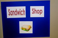 Several dramatic play ideas: sandwich shop, home improvement, restaurant, vet, etc. Cute.