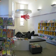 Bean Bags, Alphabet Shelf Signs.  Papanui School Library features a designated Read activity space | Services to Schools