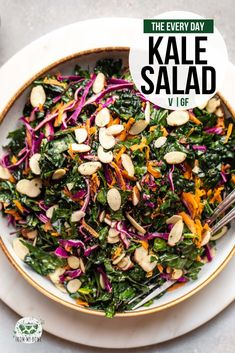 Everyday Kale Salad A simple, hearty, and wholesome kale salad for weeknight dinners or meal prep. Made from budget and fridge-friendly ingredients, you'll make this over and over! Kale Salad Recipes, Vegetarian Recipes, Healthy Recipes, Recipes With Kale Vegan, Simple Salad Recipes, Kale Apple Salad, Kale Avocado Salad, Kale Quinoa Salad, Kale Salads
