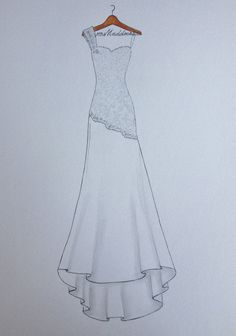 #wedding #drawing #mariage #illustration Custom wedding dress sketch dress on hanger original by Zoia