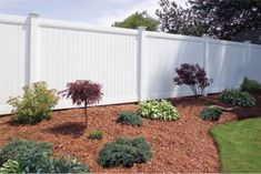 "Vinyl privacy fence with flat tops and no ""see through tops"". Re-fence entire yard with this style fence"