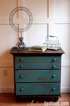 so cute in boys room! Vintage Chest of Drawers Revived with a Shipping Pallet and Miss Mustard Seed Milk Paint