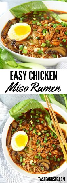 Easy Chicken Miso #Ramen - savory, soothing, and so slurpalicious!  All the comfort of mom's homemade soup, all the flavor of a classic miso-based broth, and a kick of heat that is perfectly balanced and so addicting!  https://tasteandsee.com