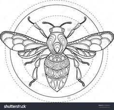 Doodle Vector Hand Drawn Bee Illustration Ornate Decorative Drawing For Coloring Book