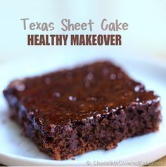 This lighter version uses yogurt instead of butter or oil for moisture, keeping the fat and calories down. I am constantly asked for the recipe, so here it is! http://chocolatecoveredkatie.com/2014/11/20/texas-sheet-cake-healthy-makeover/