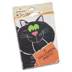 SEALED Vintage Halloween Party Invitations- Cute Black Cat Holding Trick or Treat Bag- Hallmark 8 count w/ Orange Envelopes- New Old Stock by PinkFlyingPenguin