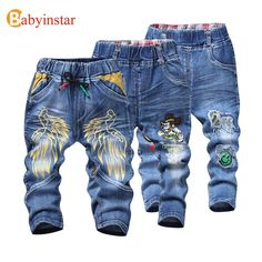 Babyinstar Kids Boys Jeans Trousers 2017 Cartoon wing Pattern Casual Spring Autumn Jeans for Kids Girl's Denim Pants Boys White Jeans, Red Jeans, Blue Skinny Jeans, Denim Pants, Jeans Dress, Trousers, Baby Girl Jeans, Girls Jeans, Kids Pants