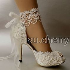 3-034-4-heel-white-ivory-satin-lace-ribbon-open-toe-Wedding-shoes-bride-size-5-9-5
