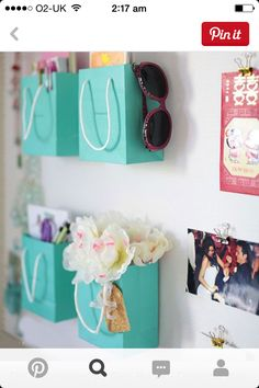 So cute. Tiffany and co boxes used as storage, love it