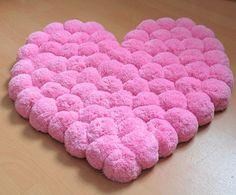 Heart Rug Pink Rug Pom Pom Carpet Soft Area by PomPomMyWorld – mi sitio Sheep Rug, Pom Pom Rug, Pom Poms, Pom Pom Crafts, Cheap Carpet Runners, Creation Couture, Diy Carpet, Stair Carpet, Washable Rugs