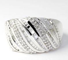 Round and Baguette-Cut Diamond Anniversary Sterling Silver Wide Band Ring  #Band