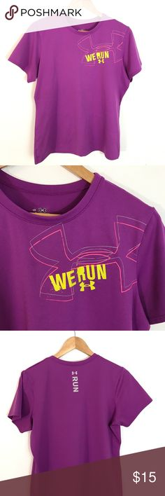Under Armour 'We Run' Top No signs of wear or stains. Fun bright color with UA logo.  Basic Tee style Length-25 inches Chest (pit to pit)- 21 inches Under Armour Tops Tees - Short Sleeve
