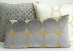 DwellStudio dove plush dotscape decorative pillow cover, Gray and tan velvet dots pillow by pillowflightpdx on Etsy https://www.etsy.com/listing/167091169/dwellstudio-dove-plush-dotscape