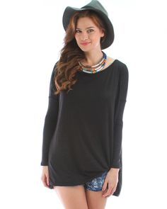 Over-Sized Long Sleeve Tunic Top In Black
