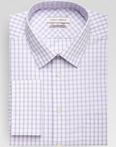 Joseph Abboud Lilac Check French Cuff Slim Fit Dress Shirt - Slim Fit (Extra Trim) | Men's Wearhouse