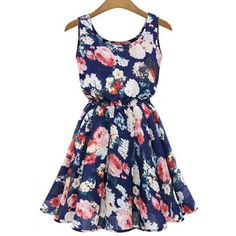 Trendy Style Scoop Neck Full Floral Print A-Line Women's Sundress, BLUE, M in Summer Dresses | DressLily.com