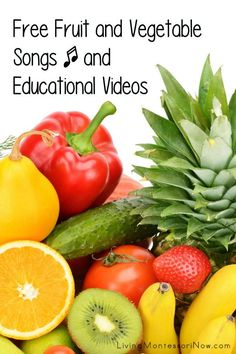 Free fruit and vegetable songs and educational videos for classroom or home. Nutrition resources for multiple ages - Living Montessori Now #fruitsandvegetables #eatarainbow #fruitandvegetablesongs #fruitandvegetablevideos #homeschool #preschool #kindergarten Free Fruit, Fruit And Veg, Fruits And Vegetables, Color Song For Kids, Color Songs, Preschool Themes, Preschool Kindergarten, What Is Fruit, Guessing Games For Kids