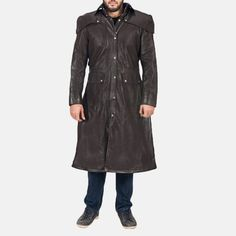 Outer Shell: Real Leather Leather Type: Cowhide Leather Finish: Semi-aniline Inner Shell: Quilted viscose lining Closure Style: Snap Buttons with button ove Real Leather, Brown Leather, Long Coats, Duster Jacket, Shirt Cuff, Collar Styles, Cowhide Leather, Jackets, Shirts