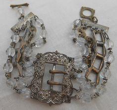 Antique Rosary Buckle Bracelet Repurposed Vintage Filigree Art Deco Sterling Silver. $55.00, via Etsy.