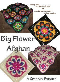 Big Crochet Flower Afghan Rug Blanket Throw PDF by rensfibreart