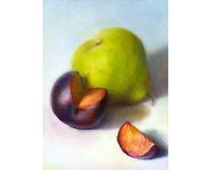 original oil painting - Pear and Plum, Quartered - still life painting by Jo Bradney. $120.00, via Etsy.