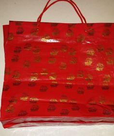 VINTAGE TRIMINGHAM'S BERMUDA LARGE RED/GOLD PLASTIC BAG -- THE STORES HAS SHUT D #TRIMINGHAMS