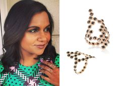 Mindy wore these delicate black rose-cut diamond and rose gold rings from Lito Jewelry's 'Hive' collection with her green ...