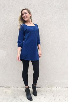 MOLLY peasant sleeve square neck tunic dress in Estate Blue