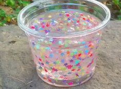 Transparent slime with glitter stars!!!!