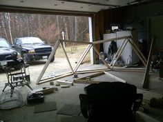 Geodesic Dome Greenhouse built with beams and pipe hubs. Geodesic Dome Greenhouse, Diy Greenhouse, Strawberry Tower, Concrete Blocks, Wood Screws, Beams, Construction, Backyard, Building
