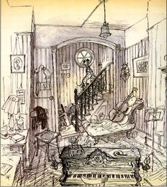 """101 Dalmatians"", concept art by Ken Anderson, inspired by Ronald Searle http://andreasdeja.blogspot.it/2013/04/dalmatian-art.html"
