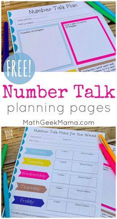 {FREE} Number Talk Planning Pages: Get Kids Talking About Math! Maths Guidés, Math Classroom, Kindergarten Math, Fun Math, Teaching Math, Math Activities, Math Games, Math Fractions, Number Talks Kindergarten