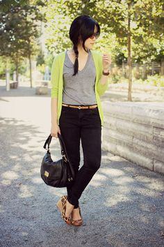 Black jeans with bright cardigan