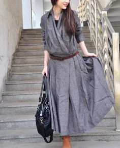 Linen Dress - Linen Long Trench Coat Dress in Grey - Custom Made
