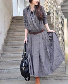 Linen Dress - Linen Long Trench Coat Dress in Grey Ruffle Dress Coat Maxi Dress Women Coat Modest Outfits, Modest Fashion, Dress Outfits, Casual Dresses, Fashion Dresses, Trench Coat Dress, Coats For Women, Clothes For Women, Frack