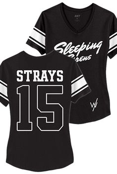 Sleeping With Sirens | Merch Store - Team Strays Girls Sporty V-Neck (Black)