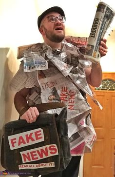 Josh: The costume is Fake News. This idea came from a conversation my dad and I had in the car, and I told him I wanted to do something creative and...