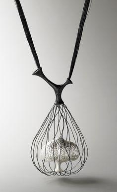 Eunju Park, Necklace: Germinate 1, 2007 925 silver, silk thread 80 x 570 x 65 mm