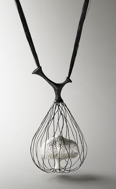 Eunju Park, Necklace: Germinate 1, 2007 925 silver, silk thread 80 x 570 x 65 mm