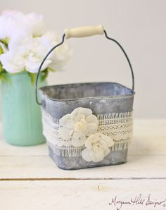 Flower Girl Basket Galvanized Tin Burlap Lace by braggingbags  FOR ALI CLAIRE